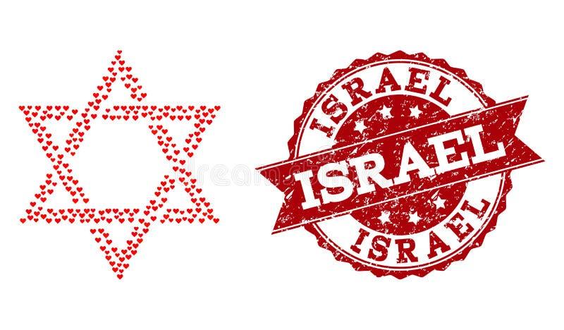 Μωσαϊκό καρδιών αγάπης του Δαβίδ Star Icon και του γραμματοσήμου Grunge ελεύθερη απεικόνιση δικαιώματος