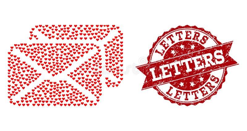 Μωσαϊκό καρδιών βαλεντίνων του εικονιδίου επιστολών και της σφραγίδας Grunge διανυσματική απεικόνιση