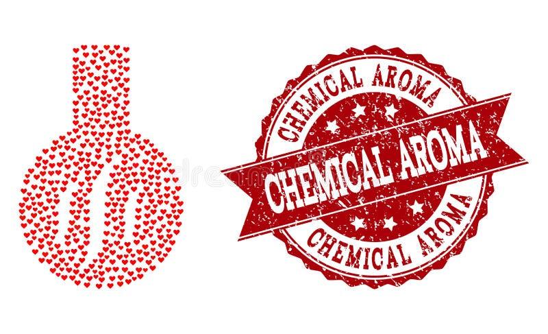 Μωσαϊκό καρδιών βαλεντίνων του χημικού εικονιδίου αρώματος και της λαστιχένιας σφραγίδας διανυσματική απεικόνιση