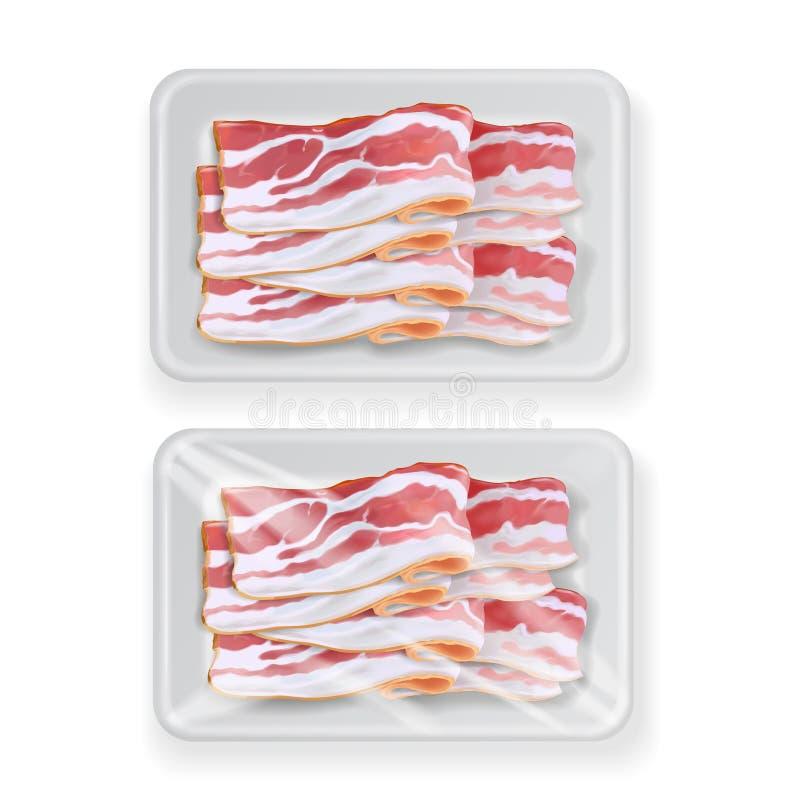 Μπέϊκον στο πλαστικό άσπρο πλαστικό εμπορευματοκιβώτιο συσκευασίας τροφίμων επίσης corel σύρετε το διάνυσμα απεικόνισης διανυσματική απεικόνιση