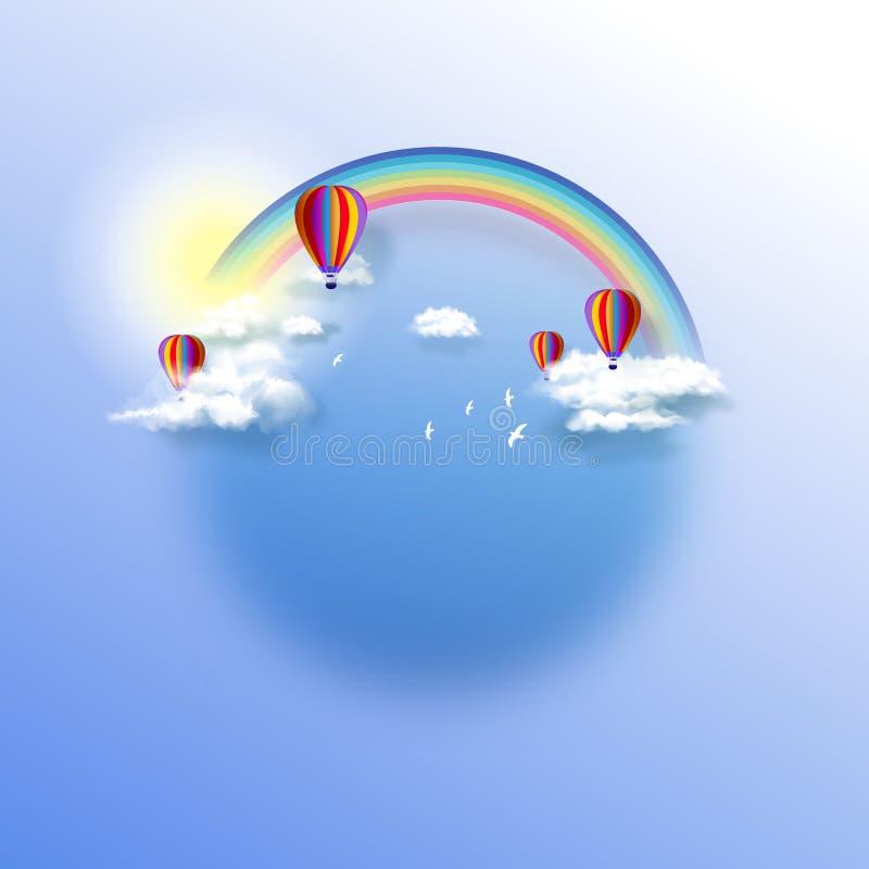 Μπαλόνια ζεστού αέρα στο νεφελώδη ουρανό με το ουράνιο τόξο στο καλό καιρικό υπόβαθρο αφηρημένο διάνυσμα απεικόνισης φαντασίας αν ελεύθερη απεικόνιση δικαιώματος