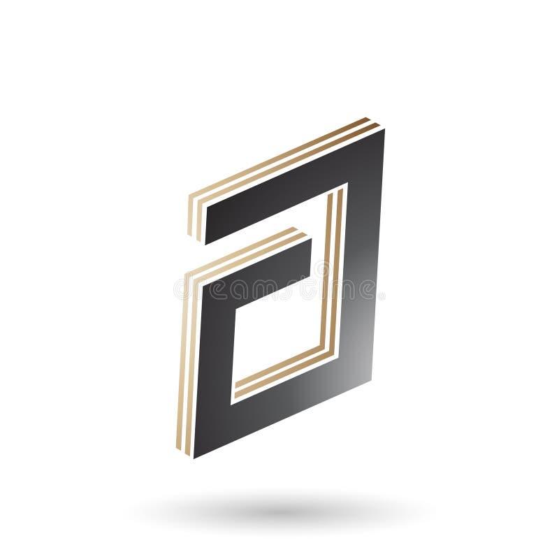 Μπεζ και μαύρο ορθογώνιο βαλμένο σε στρώσεις γράμμα Α απεικόνιση αποθεμάτων