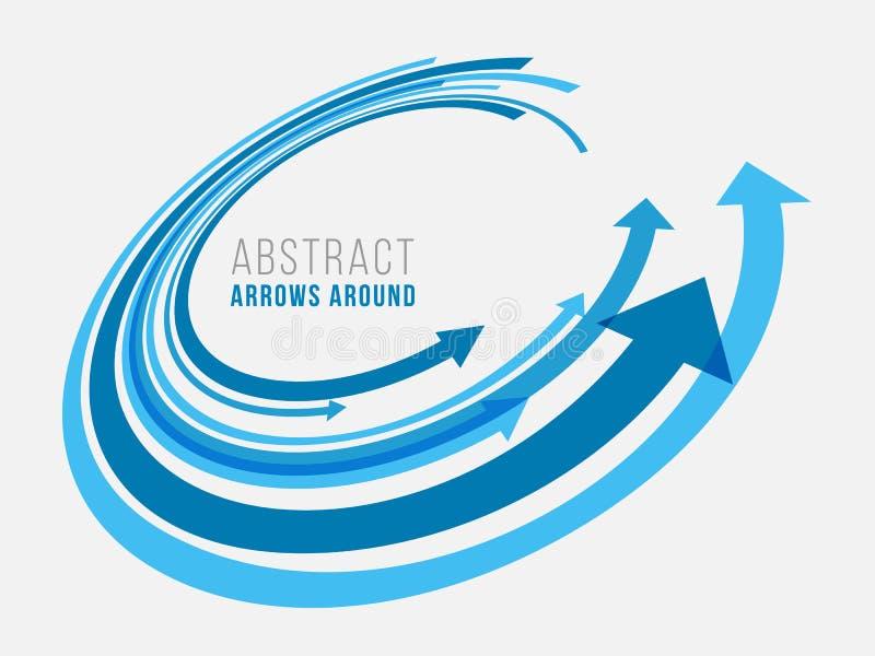Μπλε αφηρημένο βέλος γύρω από το διανυσματικό σχέδιο κύκλων ελεύθερη απεικόνιση δικαιώματος