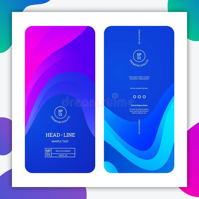 Μπλε κάθετα εμβλήματα με τα κομψά κύματα App έννοια σχεδίου υποβάθρου Διανυσματικός ελάχιστος γραφικός με τις κλίσεις απεικόνιση αποθεμάτων