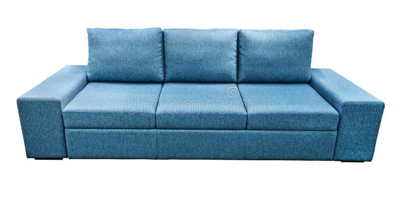 Μπλε καναπές υφάσματος καναπέδων Κλασικό σύγχρονο ντιβάνι στο απομονωμένο υπόβαθρο στοκ φωτογραφία με δικαίωμα ελεύθερης χρήσης