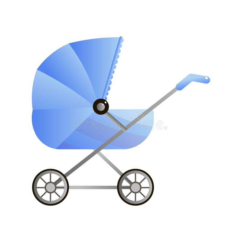 Μπλε κλασικός περιπατητής για τα νεογνά με το μεγάλο γείσο στο λευκό απεικόνιση αποθεμάτων