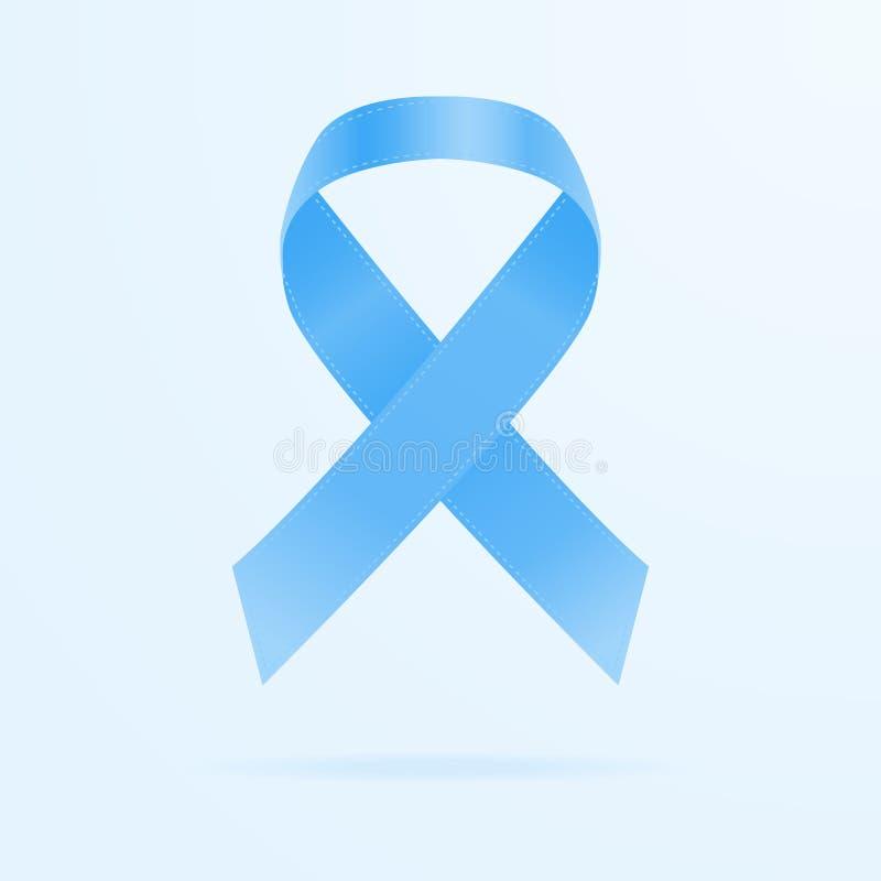 Μπλε κορδέλλα συνειδητοποίησης Έννοια ημέρας παγκόσμιου προστατική καρκίνου απομονωμένος σε ένα υπόβαθρο επίσης corel σύρετε το δ διανυσματική απεικόνιση
