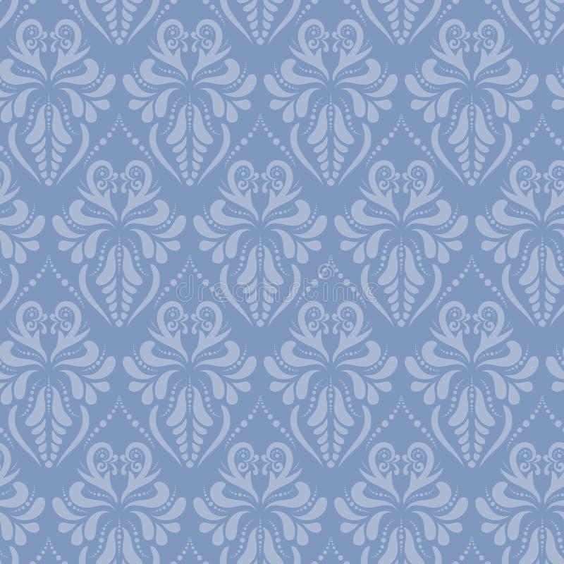 Μπλε μπαρόκ damask ύφους διανυσματικό άνευ ραφής σχέδιο απεικόνιση αποθεμάτων