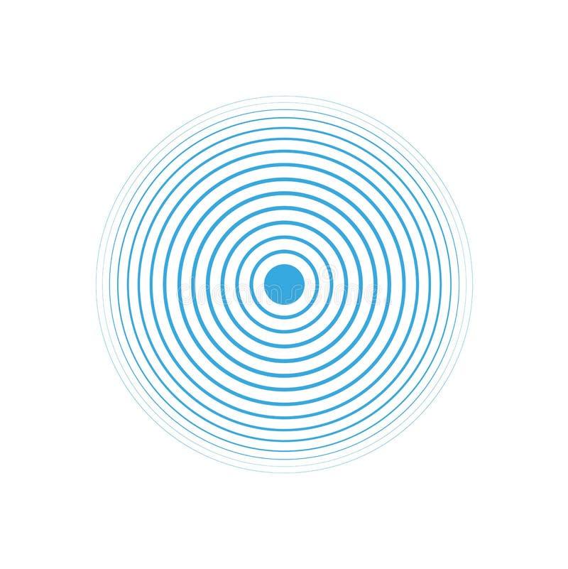 Μπλε δαχτυλίδια νερού Διάνυσμα κυμάτων κύκλων απεικόνιση αποθεμάτων
