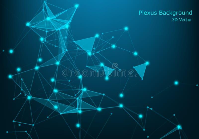 Μπλε διανυσματική απεικόνιση έννοιας σύνδεσης δικτύων Φουτουριστική hexagon ευρεία γωνία προοπτικής lanscape Φουτουριστική κηρήθρ διανυσματική απεικόνιση