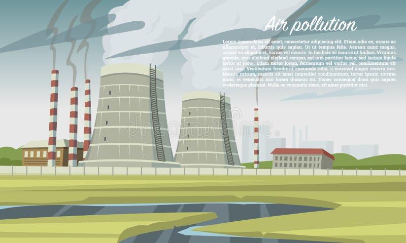 μπλε ρύπανση εργοστασίων ανασκόπησης αέρα Καπνοδόχος αιθαλομίχλης, εργοστάσιο βιομηχανίας άνθρακα, πυρηνικές εγκαταστάσεις Εκπομπ απεικόνιση αποθεμάτων