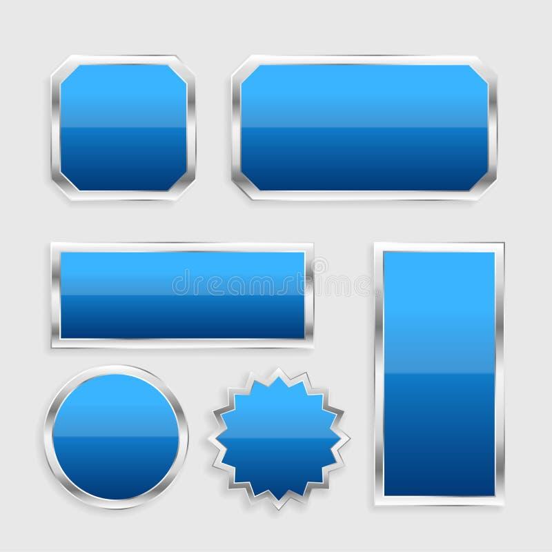 Μπλε στιλπνά κουμπιά που τίθενται με το μεταλλικό πλαίσιο απεικόνιση αποθεμάτων