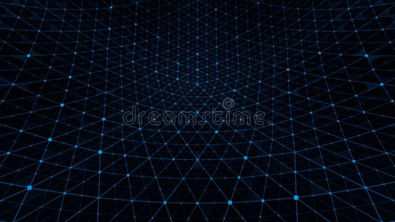 Μπλε υποβάθρου πλέγματος διαστρεβλώσεων διανυσματική απεικόνιση