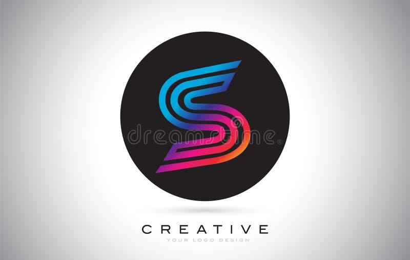 Μπλε πορφυρό σχέδιο λογότυπων επιστολών του S Ζωηρόχρωμη σύγχρονη διανυσματική απεικόνιση εικονιδίων του S ελεύθερη απεικόνιση δικαιώματος