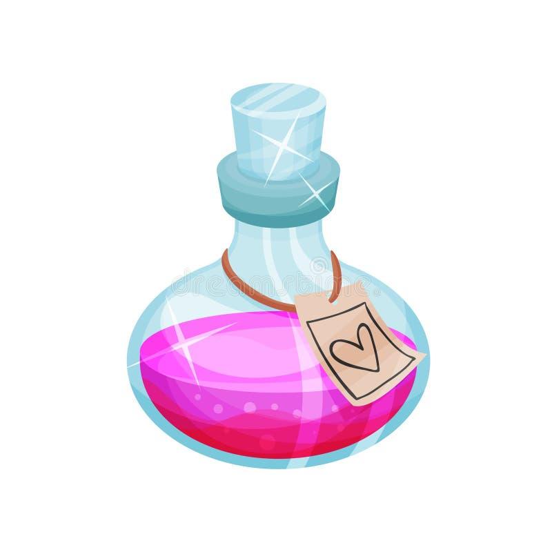 Μπουκάλι γυαλιού της φίλτρου αγάπης, ετικέτα με την καρδιά Φιαλίδιο με το μαγικό ελιξίριο Φωτεινό ρόδινο υγρό Επίπεδο διανυσματικ διανυσματική απεικόνιση
