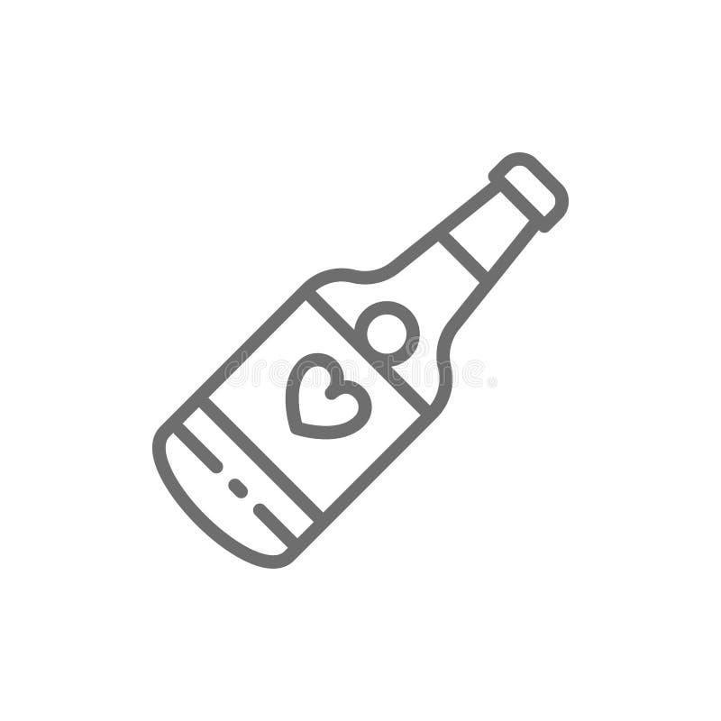 Μπουκάλι CHAMPAGNE, εικονίδιο γραμμών γαμήλιων ποτών απεικόνιση αποθεμάτων
