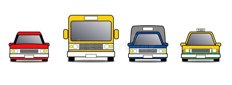 μπροστινό αυτοκίνητο εικονιδίων με το χρώμα, ιδιωτικό αυτοκίνητο, δημόσιο λεωφορείο, αυτοκίνητο παράδοσης, αυτοκίνητο ταξί ελεύθερη απεικόνιση δικαιώματος
