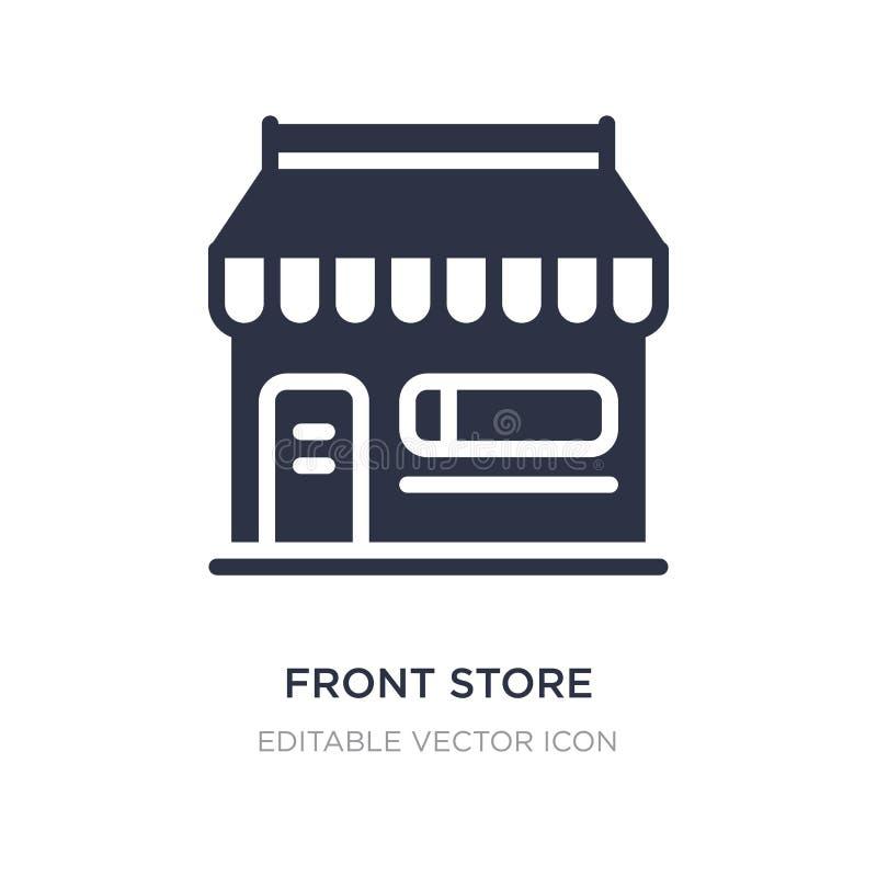 μπροστινό κατάστημα με awning το εικονίδιο στο άσπρο υπόβαθρο Απλή απεικόνιση στοιχείων από την έννοια εμπορίου απεικόνιση αποθεμάτων