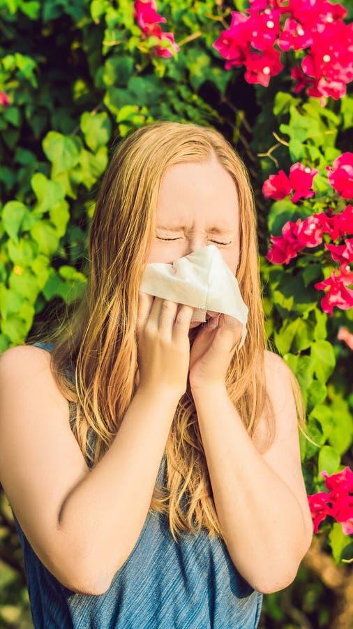 Νέα όμορφη φυσώντας μύτη γυναικών μπροστά από το ανθίζοντας δέντρο ΚΑΘΕΤΟ ΣΧΗΜΑ έννοιας αλλεργίας άνοιξη για Instagram κινητό στοκ φωτογραφία με δικαίωμα ελεύθερης χρήσης