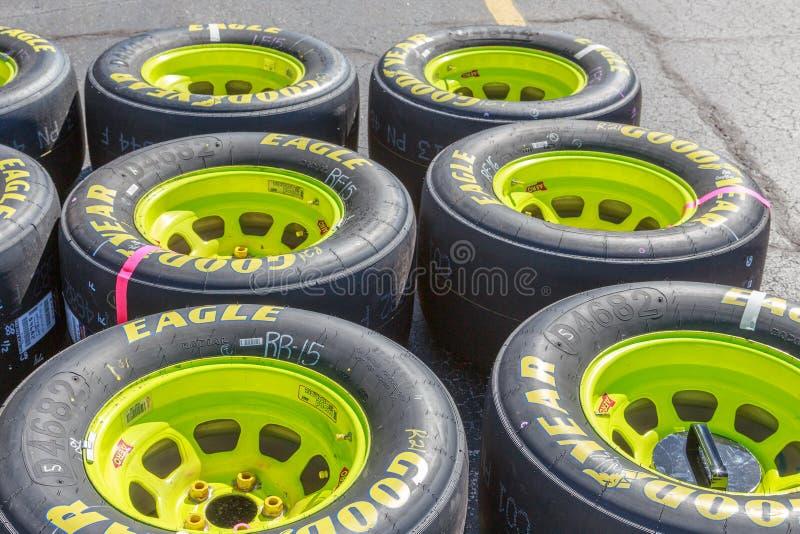 Νέα φυλή ροδών NASCAR αγώνα αετών Goodyear έτοιμη στοκ εικόνες