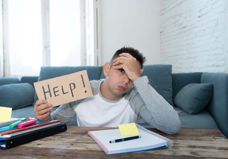Νέος απελπισμένος σπουδαστής στην πίεση που λειτουργεί και που μελετά κρατώντας ένα σημάδι βοήθειας στοκ εικόνα με δικαίωμα ελεύθερης χρήσης