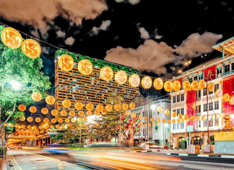 Νέος δρόμος Chinatown γεφυρών της Σιγκαπούρης που διακοσμείται νέο έτος στοκ εικόνες