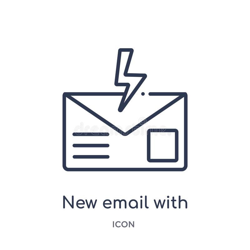 νέο ηλεκτρονικό ταχυδρομείο με το εικονίδιο αστραπής από τη συλλογή περιλήψεων ενδιάμεσων με τον χρήστη Λεπτό νέο ηλεκτρονικό ταχ ελεύθερη απεικόνιση δικαιώματος