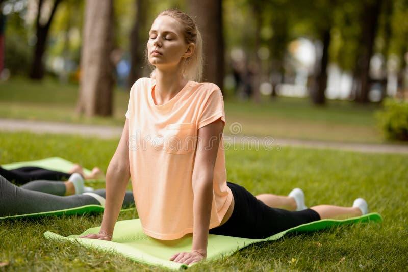 Νέο λεπτό κορίτσι με το κλείσιμο των ματιών που κάνουν τις ασκήσεις γιόγκας στο χαλί γιόγκας στην πράσινη χλόη στο πάρκο μια θερμ στοκ φωτογραφία με δικαίωμα ελεύθερης χρήσης