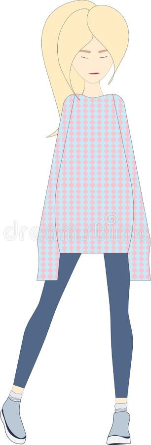 Νέο ξανθό κορίτσι στο πουλόβερ και τις μπλε περικνημίδες Γραφική παράσταση χαρακτήρα απεικόνιση αποθεμάτων