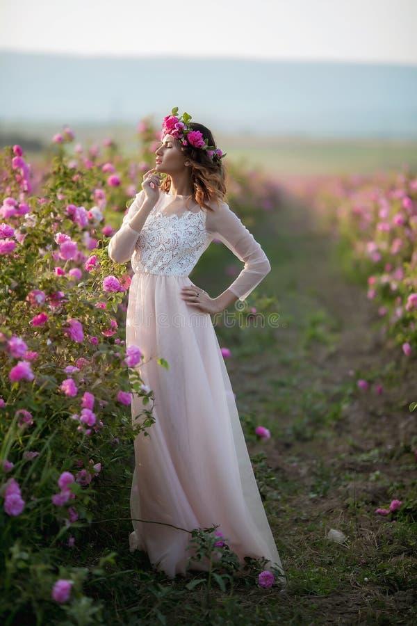 Νέο όμορφο κορίτσι σε ένα μακρύ φόρεμα και ένα στεφάνι των λουλουδιών στον κήπο του ιώδους θάμνου στοκ φωτογραφία με δικαίωμα ελεύθερης χρήσης
