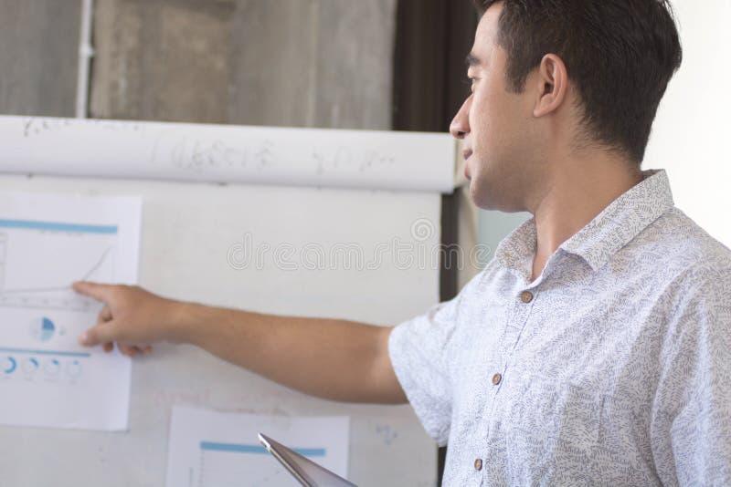 Νέο atractive ασιατικό άτομο που παρουσιάζει το γραφικό κάρρο στο λευκό πίνακα στοκ φωτογραφίες με δικαίωμα ελεύθερης χρήσης