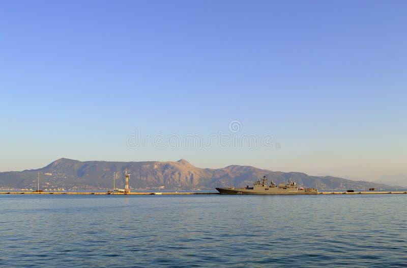 Ναυτική ναυαρχίδα δύναμης της λιμενικής ΕΕ της Κέρκυρας, FS Siroco στοκ εικόνες με δικαίωμα ελεύθερης χρήσης