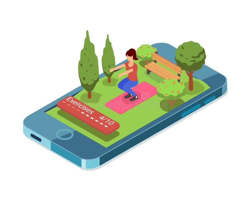 να κάνει τον αθλητισμό κο&rho Κινητό app για την κοντόχοντρη άσκηση Διεπαφή αθλητικών workout UI εφαρμογών διανυσματική απεικόνιση