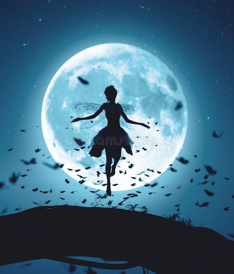 Νεράιδα που πετά σε μια μαγική νύχτα που περιβάλλεται από τις πεταλούδες κοπαδιών στο σεληνόφωτο διανυσματική απεικόνιση