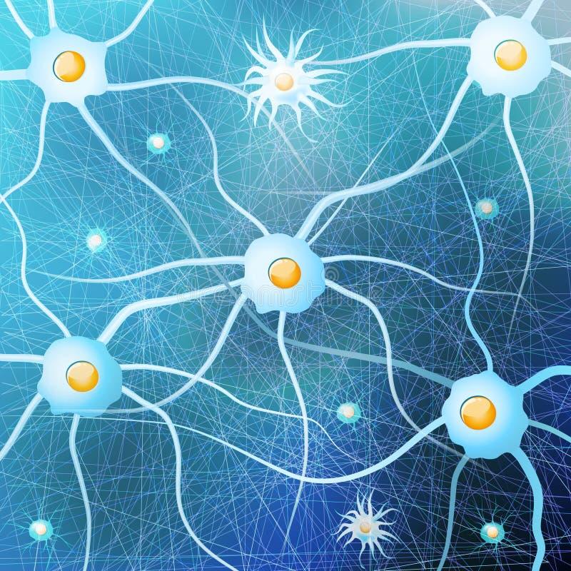 Νευρώνες και glial κύτταρα στον εγκέφαλο στο μπλε υπόβαθρο διανυσματική απεικόνιση