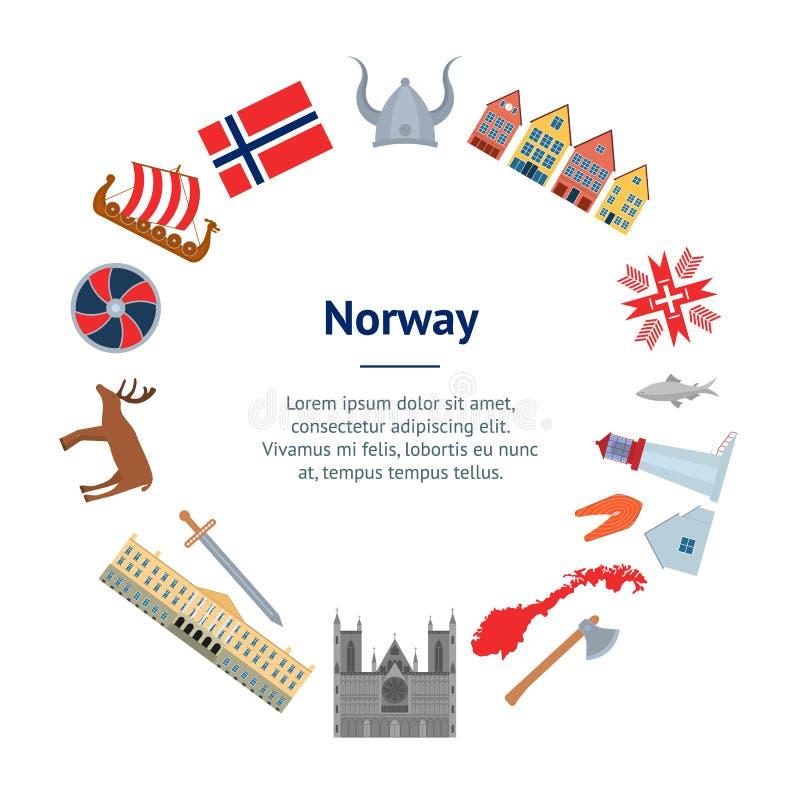 Νορβηγικοί ταξίδι κινούμενων σχεδίων και κύκλος καρτών εμβλημάτων τουρισμού διάνυσμα διανυσματική απεικόνιση