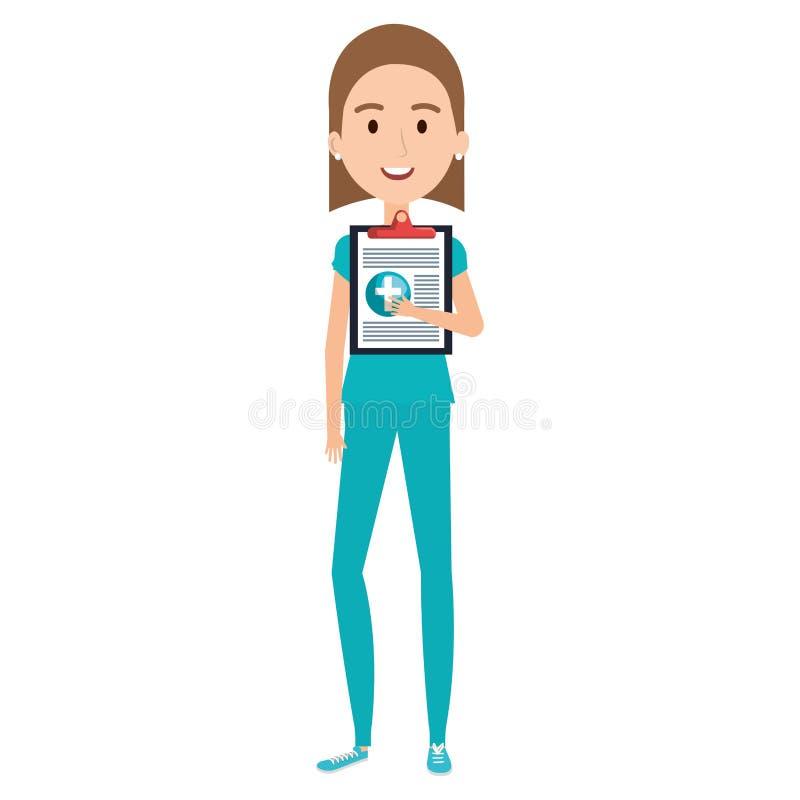 Νοσοκόμα με το χαρακτήρα πινάκων ελέγχου διανυσματική απεικόνιση