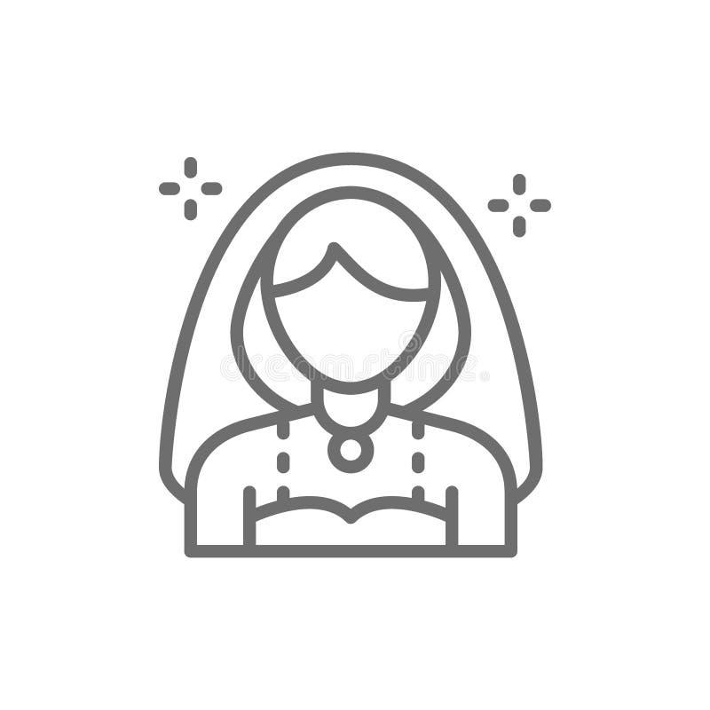 Νύφη, κορίτσι με το εικονίδιο γραμμών πέπλων ελεύθερη απεικόνιση δικαιώματος