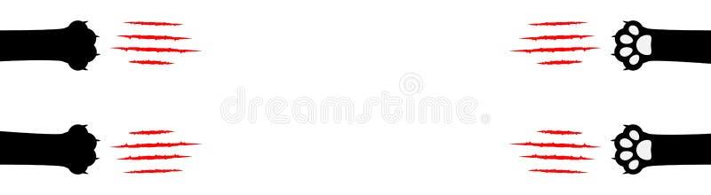 Νύχι γατών που γρατσουνίζει την καθορισμένη γραμμή Μαύρο πόδι ποδιών τυπωμένων υλών ποδιών Η αιματηρή ζωική κόκκινη γρατσουνιά νυ απεικόνιση αποθεμάτων
