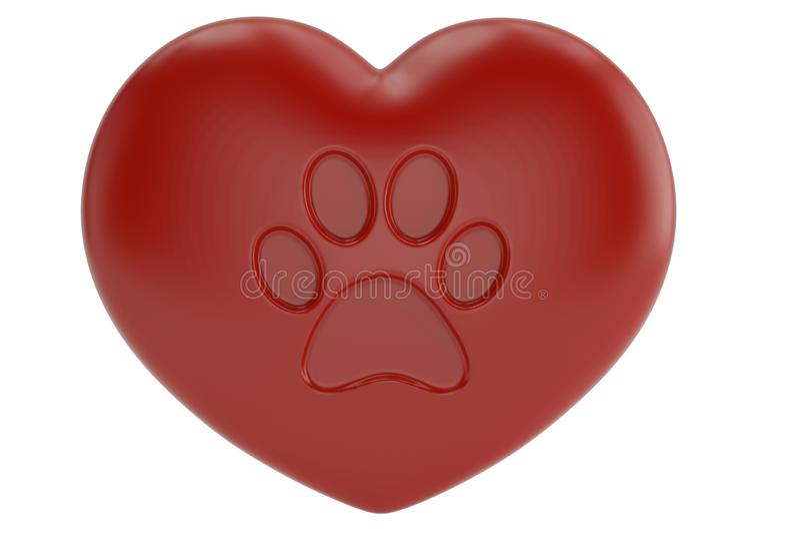 Νύχι της Pet στην κόκκινη καρδιά που απομονώνεται στο άσπρο υπόβαθρο τρισδιάστατη απεικόνιση απεικόνιση αποθεμάτων
