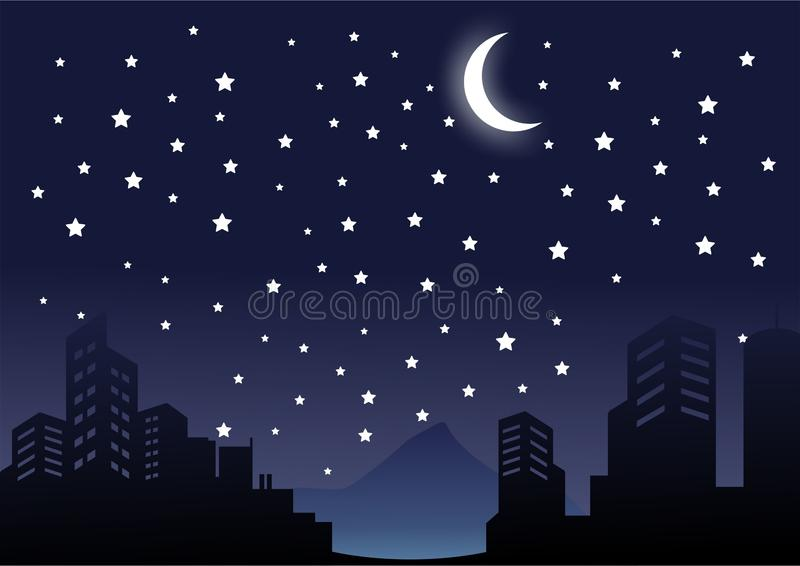 Νύχτα σκιαγραφιών στο διάνυσμα τοπίων πόλεων και οικοδόμησης απεικόνιση αποθεμάτων