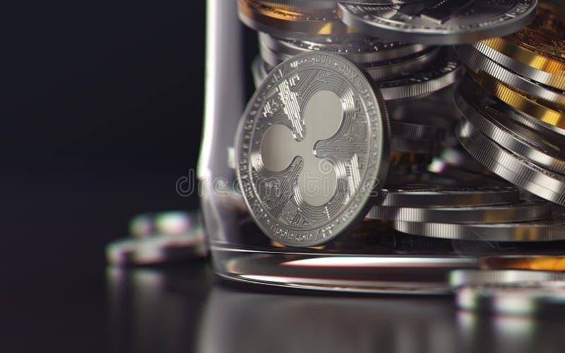 Νόμισμα κυματισμών που αποθηκεύεται σε ένα βάζο ως παγωμένη έννοια προτερημάτων τρισδιάστατη απόδοση ελεύθερη απεικόνιση δικαιώματος