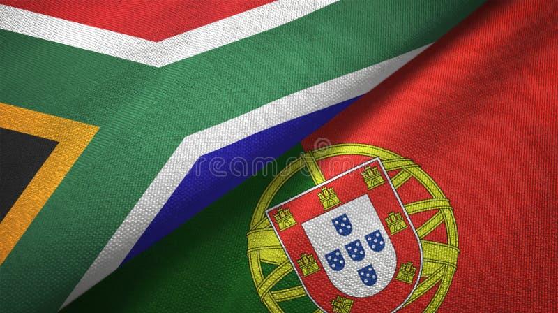 Νότια Αφρική και Πορτογαλία δύο υφαντικό ύφασμα σημαιών, σύσταση υφάσματος διανυσματική απεικόνιση