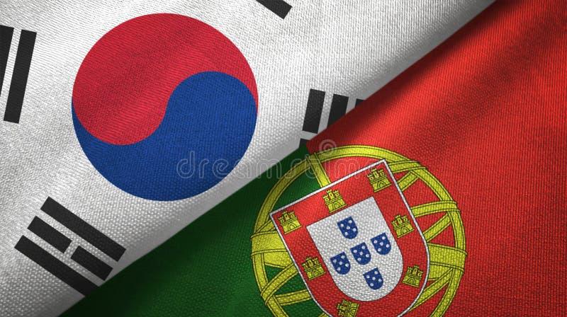 Νότια Κορέα και Πορτογαλία δύο υφαντικό ύφασμα σημαιών, σύσταση υφάσματος ελεύθερη απεικόνιση δικαιώματος