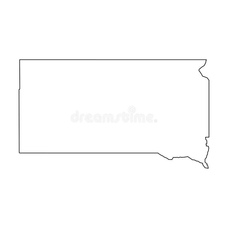 Νότια Ντακότα, κατάσταση των ΗΠΑ - στερεός μαύρος χάρτης περιλήψεων της περιοχής χωρών Απλή επίπεδη διανυσματική απεικόνιση διανυσματική απεικόνιση