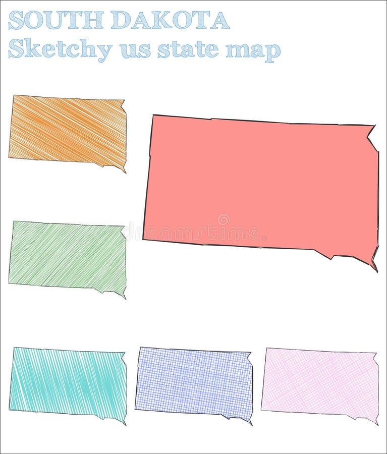 Νότια Ντακότα περιγραμματική εμείς κράτος διανυσματική απεικόνιση