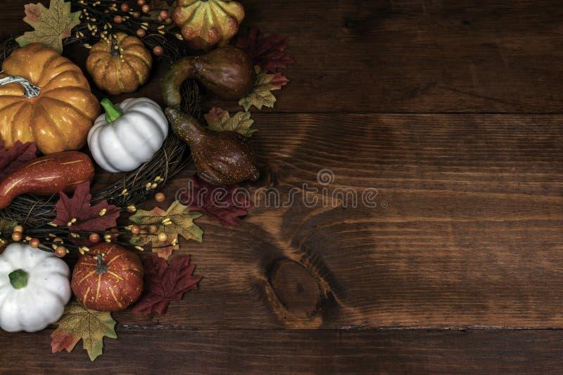 Ντεκόρ ημέρας των ευχαριστιών με τις κολοκύθες, την κολοκύθα και την κολοκύνθη στοκ φωτογραφίες