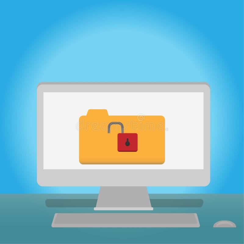 Ξεκλειδώστε το αρχείο στοιχείων στον υπολογιστή κοινωνική έννοια Διαδικτύου μέσων σε απευθείας σύνδεση διανυσματική απεικόνιση