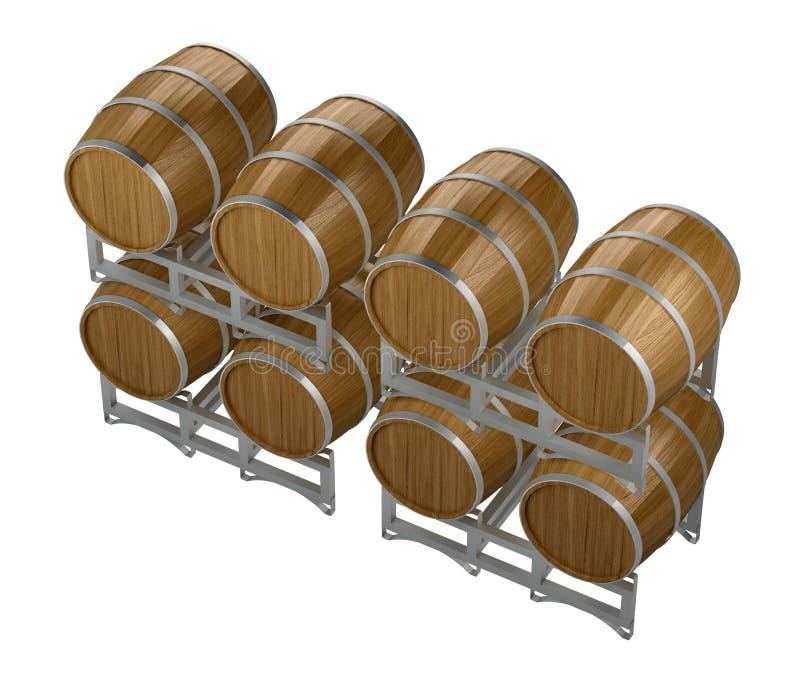 Ξύλινα βαρέλια κρασιού ομάδας διανυσματική απεικόνιση