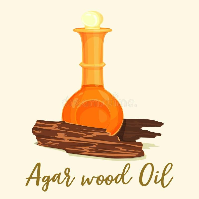 Ξύλινο άρωμα ή agarwood πετρέλαιο αγάρ στο μπουκάλι διανυσματική απεικόνιση